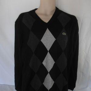 Lacoste cotton v-neck sweater bk/gray argyle M